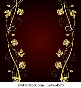 Gold flowers with shadow on dark red background. Vector illustration.