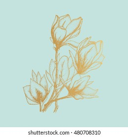 Gold flowers, vector illustration