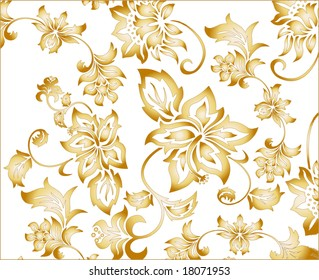 Gold  flowery pattern vector illustration with intricate floral arabesques