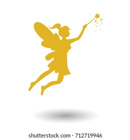 Gold flying fairy icon vector