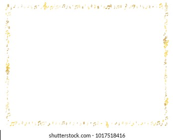 Gold flying musical notes frame isolated on white backdrop. Fresh musical notation symphony signs, notes for sound and tune music. Vector symbols frame for melody recording, prints and back layers.