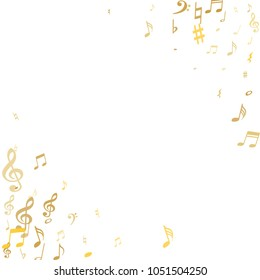 Gold flying musical notes frame isolated on white background. Stylish musical notation symphony signs, notes for sound and tune music. Vector symbols frame for melody recording, prints and back layers