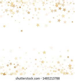 Gold flying stars confetti magic holiday frame vector, premium sparkles stardust border background.  Light Christmas holiday stars background vector, flying gold sparkles confetti on white.
