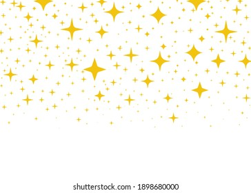 Gold flying stars confetti magic christmas frame vector, premium sparkles stardust border background.