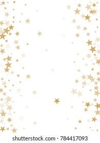 Gold flying stars confetti magic christmas frame vector, premium sparkles stardust border background. Holiday party decor, Christmas stars background vector, flying gold sparkles confetti on white.