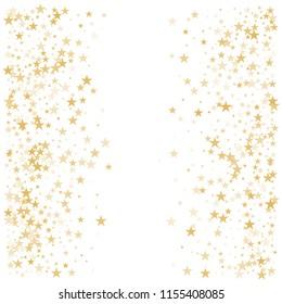 Gold flying stars confetti vector background, golden christmas lights falling. magic shining Flying stars glitter cosmic backdrop, sparkle vector border. glow tinsel frame