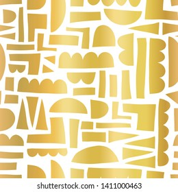 Gold foil Abstract shapes seamless vector pattern paper cut out collage style