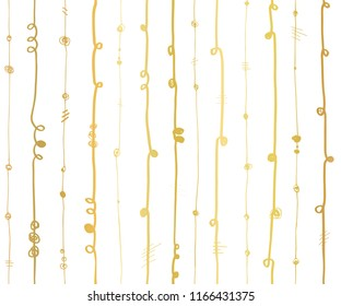 Gold foil abstract vertical lines seamless vector pattern. Golden wavy vertical stripes with twirl elements on white background. Elegant design for wallpaper, scrap booking, banner, wedding, party