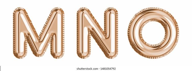 Gold  foil balloon alphabet set letter M, N, O  realistic 3d illustration metallic pink gold air balloon. Collection of balloon alphabet ready to use in headlines, greeting, celebration vector eps