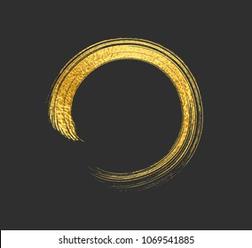 Gold foil brush stroke. Yellow sparkle circle frame. Copper metal paint texture isolated on black background. Vector gold glitter mascara brushstroke border pattern.
