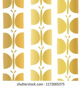 Gold foil butterfly seamless vector pattern. Golden hand drawn butterflies on white background. Elegant design for girls, women, birthday card, baby shower, gift wrap,banner, kids decor, digital paper