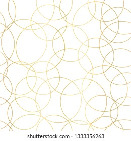 Gold foil circles abstract seamless vector pattern. Modern elegant background shiny golden overlapping circles on white. Design for web banner, blog, wedding, digital paper, celebration, invite