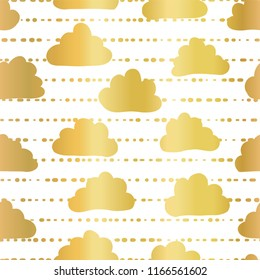 Gold foil clouds in the sky seamless vector pattern background. Golden clouds on striped white background. Great for kids, paper, web banner, party, celebration, invite, wedding, baby shower, birthday
