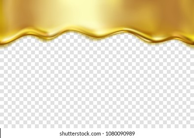 Gold foil drip pattern isolated on transparent background. Golden oil, metal flow texture. Vector gradient  gold liquid smooth border template for your advertising design.