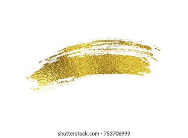 Gold foil dry brush stroke. Golden sparkle glossy scribble, grunge or smudge paint texture isolated on white background. Vector shiny metallic gradient brushstroke pattern for your design.