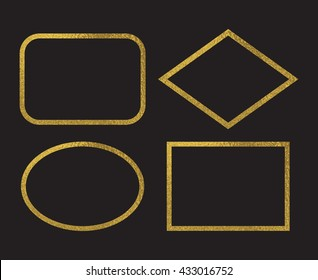Gold foil frames. Simple golden design. Decorative borders isolated on black background. Oval, rhombus,  rounded rectangle frames. Vector illustration.