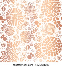 Gold foil mosaic flowers seamless vector background. White abstract florals and leaves on golden background. Elegant, luxurious pattern for wallpaper, scrap booking, banners, packaging, wedding, party
