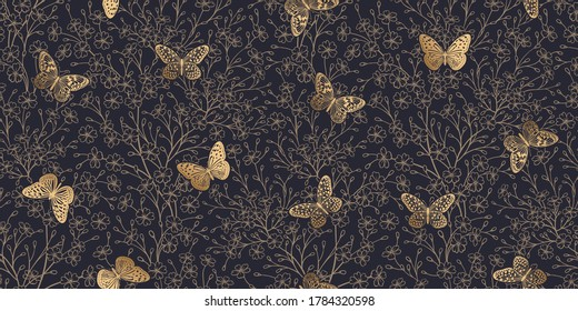 Gold foil print flowers and butterflies on black background. Floral seamless pattern for fabrics, summer textiles, paper, wallpaper, interior decoration. Vector illustration. Vintage