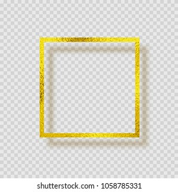 Gold foil smudge frame. Yellow gloss grunge texture decor isolated on transparent background. Vector glitter gold metallic gradient border pattern for your design