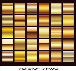 Gold foil texture background set. Realistic golden, copper vector elegant, brass and metal gradient template for gold border, frame, ribbon design.