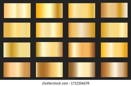Gold foil texture background set. Vector golden, copper, brass and metal gradient template.Collection of golden metallic gradient.
