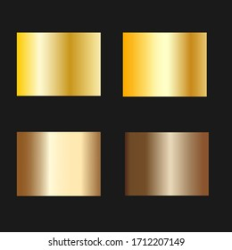 Gold foil texture background set. Vector golden, copper, brass and metal gradient template.Collection of golden metallic gradient.
