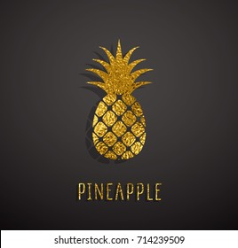 Gold foil texture pineapple pattern isolated on black background. Golden sparkle glossy exotic floral jungle icon. Vector shiny metallic tropical ananas logo for web banner or summer card design