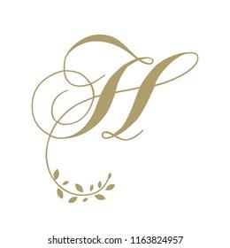 Gold foliage, script letter H