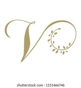 Gold foliage, script letter V