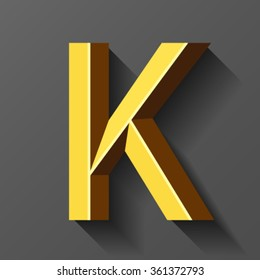 Gold font with bevel, letter K vector
