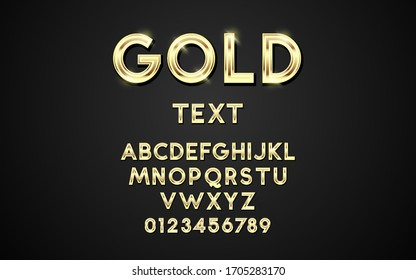 Gold font and letters alphabet typography. Vector golden font type with 3d gold effect, Luxury alphabet design,