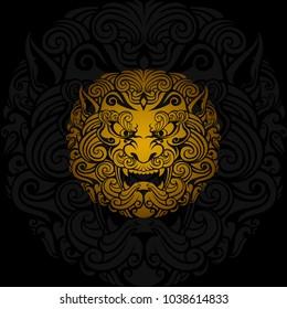 gold Foo dog vector in dark background