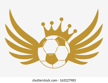 Gold football with crown and wings
