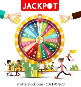 Gold Fortune Wheel with Jackpot Title and Happy People, Money Pile and Hands with Dollar Coins. Vector Gambling Symbol  Isolated on White Background.