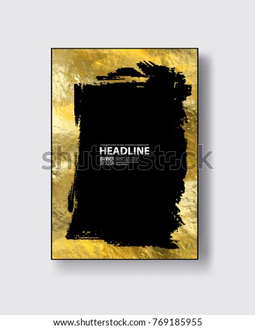 Gold Frame Banner Beautiful Simple Golden Stock Vector Royalty Free