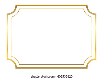 antique frame border png. Gold Frame. Beautiful Simple Golden Design. Vintage Style Decorative Border, Isolated On White Antique Frame Border Png