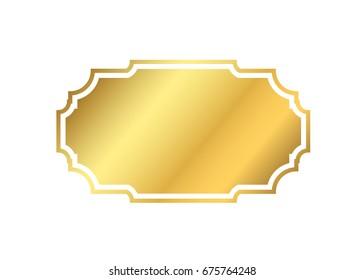 Gold frame. Beautiful simple golden design. Vintage style decorative border isolated white background. Elegant gold art frame. Empty copy space decoration, photo, banner Vector illustration