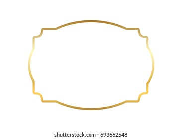 Gold frame. Beautiful simple golden design. Vintage style decorative border isolated white background. Elegant gold art frame. Empty copy space decoration, photo, banner Vector illustration