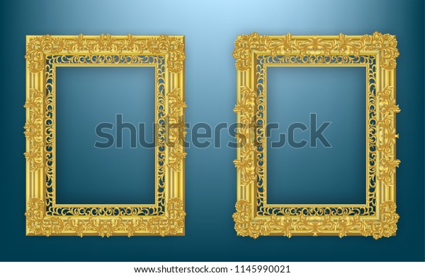 91f829516be Gold frame. with borders floral Baroque for picture.Set of Decorative  vintage frames and