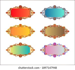 Gold frame. Colored gradients. Ornate with gold set of beautiful frames. On white background.