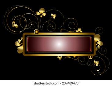Gold frame decorated with golden curls, beads and petals