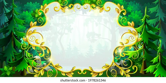 Gold frame and field for text on a forest background with trees, bushes and flowers. Graphic field for decoration and design.