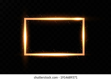Gold frame with fiery sparks. Gold frame with light effects. Shining banner.