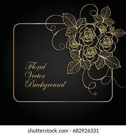 Gold frame with flowers on dark background.