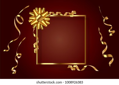 Gold frame with gift bow and serpentine on a burgundy background