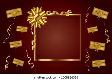 Gold frame with gift bow serpentine and presents on a dark red background