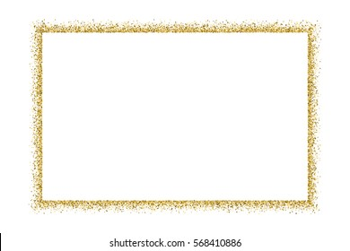 Gold frame glitter texture isolated on white. Golden color of winners. Gilded abstract particles. Explosion of confetti shine. Celebratory background. Vector illustration,eps 10