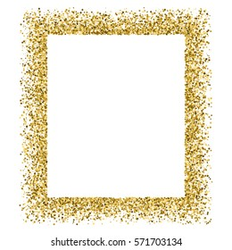 Gold frame glitter texture isolated on white. Golden color of winners. Gilded abstract particles. Explosion of confetti shine. Celebratory background. Vector illustration,eps 10.