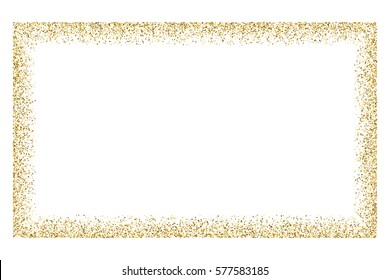 Gold frame glitter texture isolated on white.  Amber particles color. Celebratory background. Golden explosion of confetti. Vector illustration,eps 10.