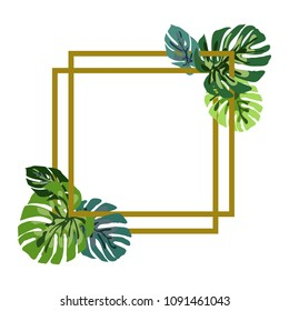 Gold frame with green Monstera leaves. Tropical leaves of palm tree. Vector background.